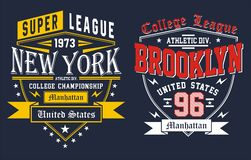 College new york with brookyn, vectors. College new york with brookyn, t shirt graphic, emblem, vectors Stock Photos