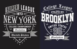 Athletic new york with brooklyn, vectors Royalty Free Stock Image
