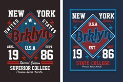 College New York City, vector image. College New York City , screen printing vector easy on color separation, t shirt , poster festival Stock Image
