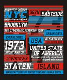 Athletic New York City, t shirt graphic, vector. Athletic New York City, screen printing  easy on color separation, t shirt , poster festival, vectors Stock Photos