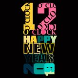 Typography of 12 O Clock and Happy New Year 2019. In a colorful design on a black background stock illustration