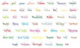 Typography Of The USA States All Name Colorful Handwritten Illustration On White Background Royalty Free Stock Images