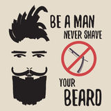 Typography poster with bearded man. Royalty Free Stock Photo