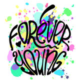 Typography poster Forever Young. Vector hand lettered inspirational typography poster Forever Young on apple silhouette Vector Illustration
