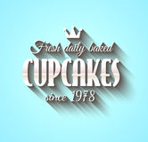 Typography poster Fresh Dalily Baked Cupcakes Royalty Free Stock Photography