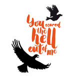 Typography poster with ravens. Hand drawn lettering. For print o Stock Photos