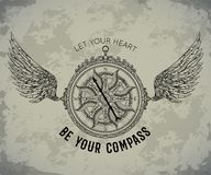 Typography poster with vintage compass and wings. Inspirational quote. Let your heart be your compass. Concept design for t-shirt, print, card, tattoo. Vector Royalty Free Stock Images