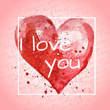 Typography poster. Watercolor red heart  on background. Holiday Valentines day card. Hand painting - vector Royalty Free Stock Images