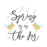 Typography quote spring Vector text Spring is in the air decorated hand drawn yellow birds notes Cute phrase print. Typography quote spring text Spring is in the royalty free illustration