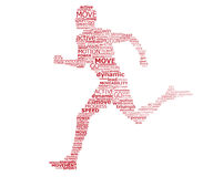 Typography runner. Conceptual map of the ideas of movement, sport, activity stock illustration