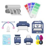Typography set icons in cartoon style. Big collection of typography vector symbol stock illustration Stock Image