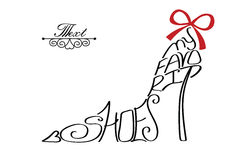Typography Shoes Design.Silhouette of woman shoes from words Royalty Free Stock Image