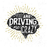 Typography sketch with brains silhouette and lettering. You are driving me crazy. Creative calligraphy quote. Vector label with phrase used for poster, banner stock illustration