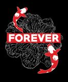 Typography slogan with koi fish vector for t shirt embroidery or printing, Graphic tee  Printed tee. Typography slogan with koi fish, vector for t shirt Stock Photography