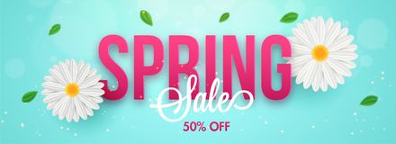 Typography of spring with daisy flowers and 50% discount offer. Sale header or banner design. royalty free illustration