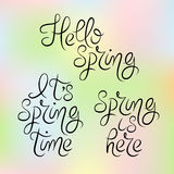 Typography Spring Design Set. Handwritten calligraphy. Royalty Free Stock Images