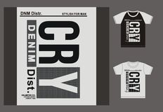 Typography for t shirt, design, Clothing, Cry, typography sports, vector. Stock Image