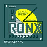 Bronx/New york city/brooklyn Typography Design for t-shirt. Typography for t-shirt,vector illustration art,new design Stock Images