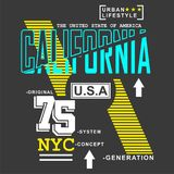 California city/nyc Typography Design for t-shirt. Typography for t-shirt,vector illustration art,new design Stock Image