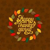 Typography of Thanksgiving. Beautifully decorated holiday text with autumn elements. stock illustration