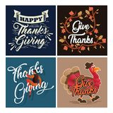Typography Thanksgiving Celebration Greeting Card Collection With Ornament vector illustration