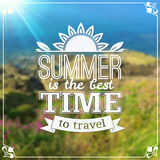 Typography travel design on blurred photo Royalty Free Stock Image