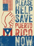 American hand pulling up Puerto Rican hand to safety. Typography urging hurricane relief for Puerto Rico. American hand pulling up Puerto Rican hand to safety royalty free illustration