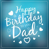 Typography vector happy birthday to you dad card template.. Vintage Happy Birthday Typographical Background for your father with love. Romantic vector banner in Stock Photos