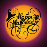 Typography vector illustration. Happy Halloween with cobweb, bat, pumpkin and witch hat vector illustration