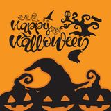Typography vector illustration. Happy Halloween text with cobweb, ghost, owl, bat, tree and pumpkin. vector illustration