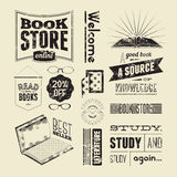 Typography vector set of vintage design elements for bookstore or library. Royalty Free Stock Image