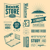 Typography vector set of vintage design elements for bookstore or library (without grunge effect). Royalty Free Stock Photo