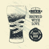 Typography vintage grunge style beer poster with glass of beer. Vector illustration. Royalty Free Stock Photography