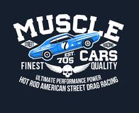 Typography wear & t-shirt print classic American Muscle Cars cool design  illustration. Typography wear t-shirt print classic American Muscle Cars cool design Royalty Free Stock Image