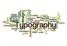 Typography - Word Cloud. Word Cloud Illustration of Typography Stock Photography