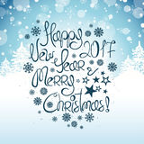 Typorgaphy New Year And Christmas Greeting Card. Royalty Free Stock Images