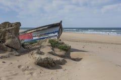 Typowa dzika plaża w Tangier obrazy stock