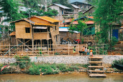 Typowa mała wioska blisko Inle jeziora Obraz Stock