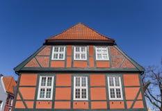 Typowa niemiecka połówka cembrował dom przy Rybim rynkiem w Stade zdjęcia royalty free