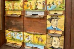 Typowa slovenian pasieka z unikalnymi ulowymi panel obraz stock