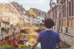 Typowa ulica Colmar, Francja obraz royalty free