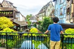 Typowa ulica Colmar, Francja zdjęcia stock