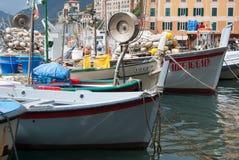 Typowe łodzie fishermans Camogli - genua Obrazy Stock