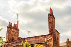 Typowi starzy Angielscy budynki, niscy ceglani domy Fotografia Royalty Free