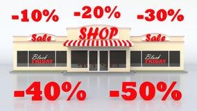 Typowy Amerykański sklep spożywczy Sprzedaż towary Szyldowy czarny Piątek Biały odosobniony tło Wielcy listy Zdjęcia Stock