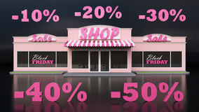 Typowy Amerykański sklep spożywczy Sprzedaż towary Szyldowy czarny Piątek Biały odosobniony tło Wielcy listy Obraz Royalty Free