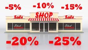 Typowy Amerykański sklep spożywczy Sprzedaż towary Szyldowy czarny Piątek Biały odosobniony tło Wielcy listy Zdjęcie Royalty Free