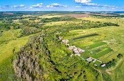 Typowy antena krajobraz Środkowy Rosyjski wyż Bolshoe Gorodkovo wioska, Kursk region obraz royalty free