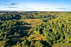 Typowy antena krajobraz Środkowy Rosyjski wyż Bolshoe Gorodkovo wioska, Kursk region zdjęcie royalty free