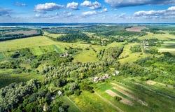 Typowy antena krajobraz Środkowy Rosyjski wyż Kursk region obraz royalty free